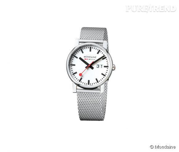 Montre Simply Elegant de Mondaine    Mouvement à quartz, boîtier et bracelet en acier brossé, 289€.