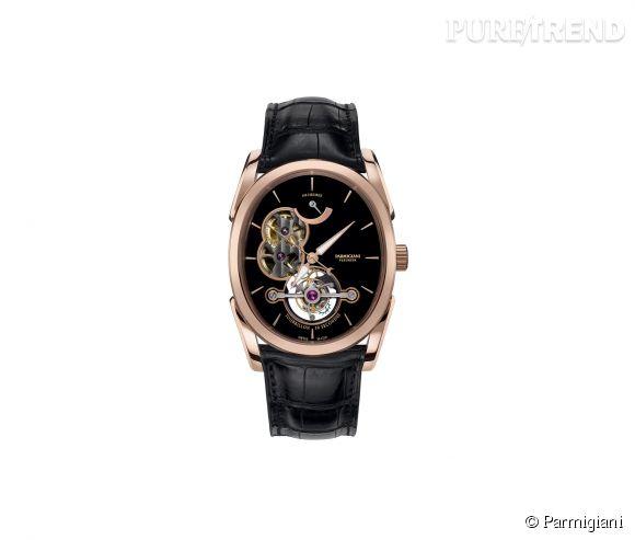 Montre Ovale Tourbillon de Parmigiani    Mouvement à remontage manuel, boîtier en or rose et bracelet en alligator, prix sur demande.