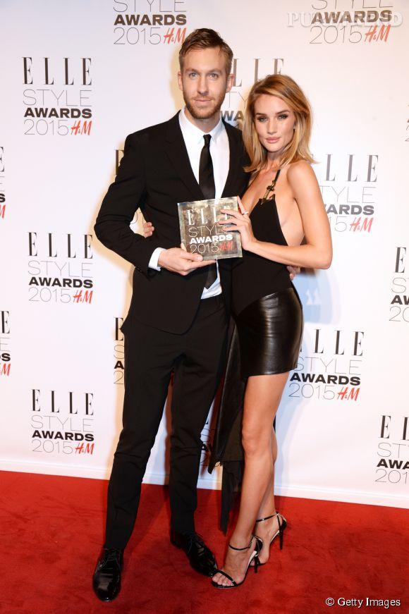 Calvin Harris et Rosie Huntington-Whiteley lors des ELLE Style Awards 2015 le 24 février 2015 à Londres.