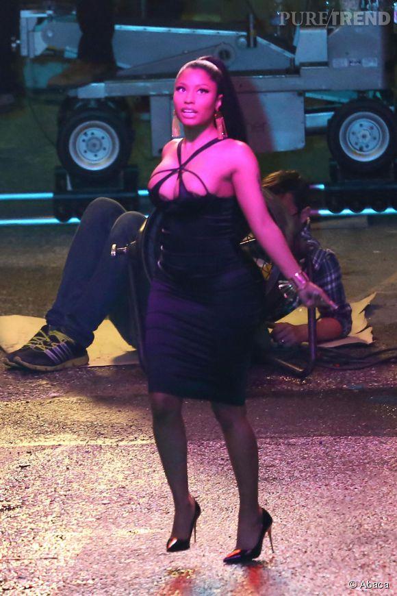 Nicki Minaj sur le tournage de son nouveau clip à Los Angeles le 11 mars 2015.