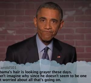 """Barack Obama répond aux """"mean tweets"""" sur le plateau de Jimmy Kimmel."""