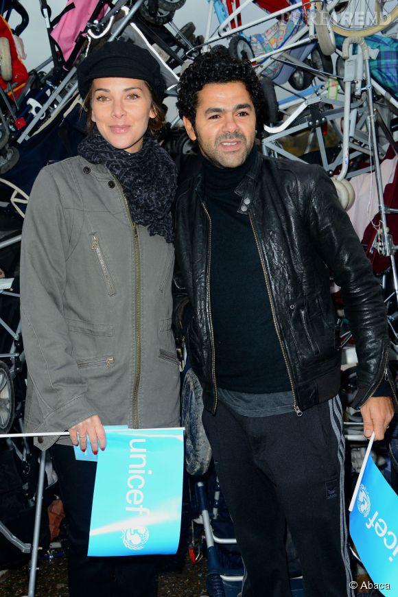 Mélissa Theuriau et Jamel Debbouze s'unissent pour l'UNICEF, au Trocadéro à Paris en novembre 2012.