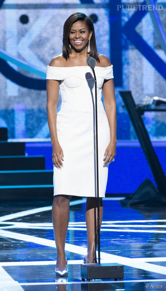 Michelle Obama était sublime en robe blanche. Elle a livré un disours très applaudi.