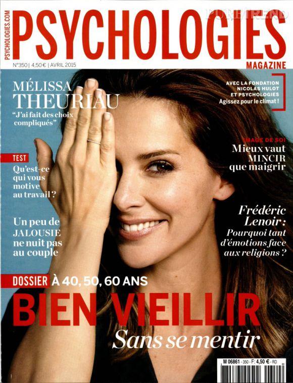 Mélissa Theuriau fait la couverture du magazine  Psychologies  du mois d'avril.