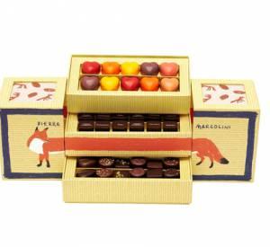"""Pierre Marcolini x Kitsuné présentent leur coffret """"chocolats sélection"""".Prix : 41€."""
