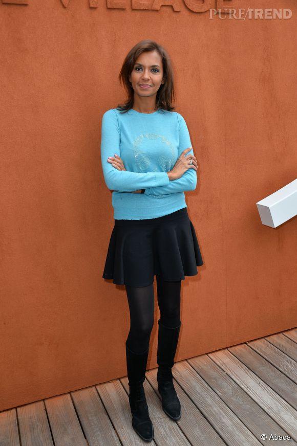 Lors de sa récente venue à Rolland Garros, la jolie Karine a opté pour une petite jupe patineuse. A quand les jambes nues ?