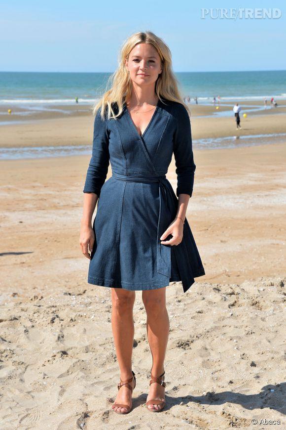 Virginie Efira sur la plage de Cabourg le 13 juin 2015.