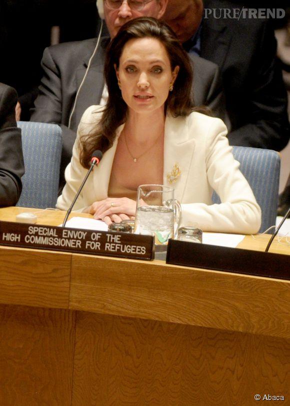 Angelina Jolie, ici à une conférence pour parler des réfugiés syriens.