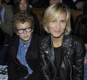 Judith Godrèche et son fils, Noé, en front row du défilé Castelbajac, en 2012.