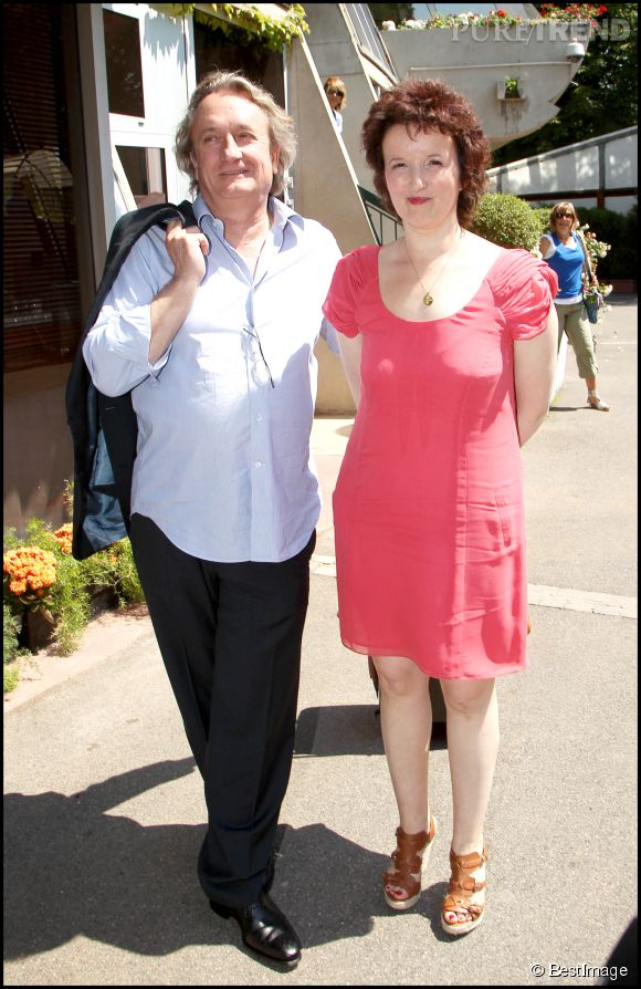 Anne Roumanoff et son mari Philippe Vaillant à Roland Garros, en 2011.