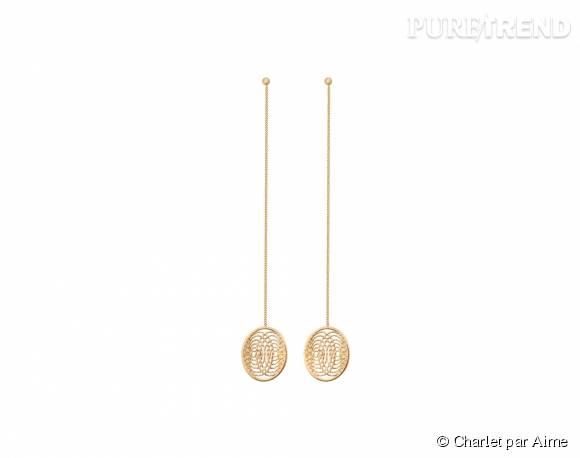 """Charlet par Aime    Boucles d'oreilles """"Aura"""" en or et diamants, 2 990€."""