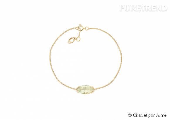 """Charlet par Aime    Bracelet """"Gaby"""" en or et prasiolite, 395€."""