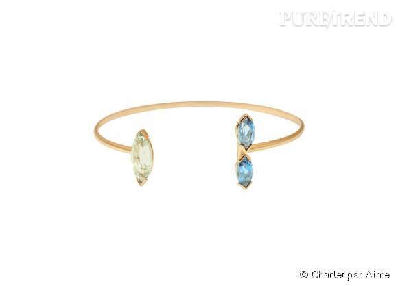 "Charlet par Aime    Bracelet ""Gaby""en or, topazes blue London et prasiolite, 1 490€."