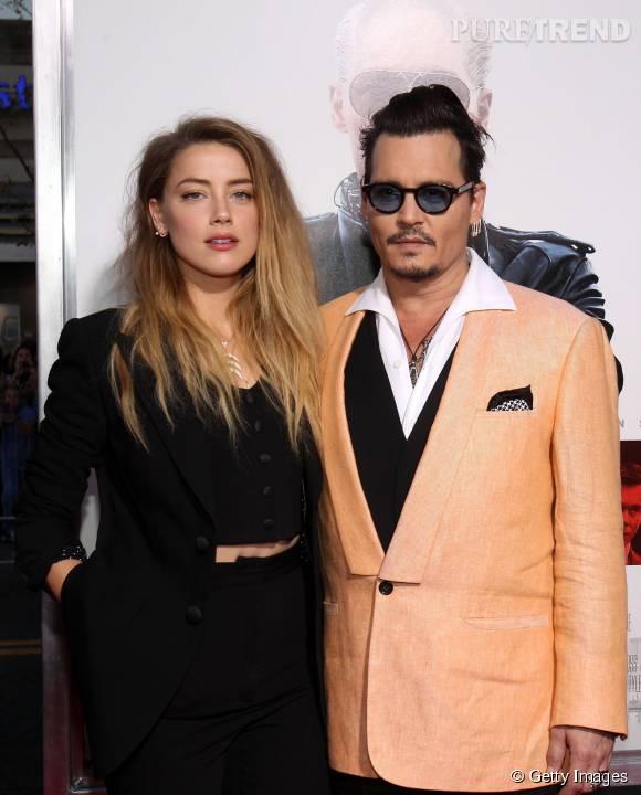 """Amber Heard et Johnny Deppà la première de """"Black Mass"""" dans le Massachusettsle 15 septembre 2015."""