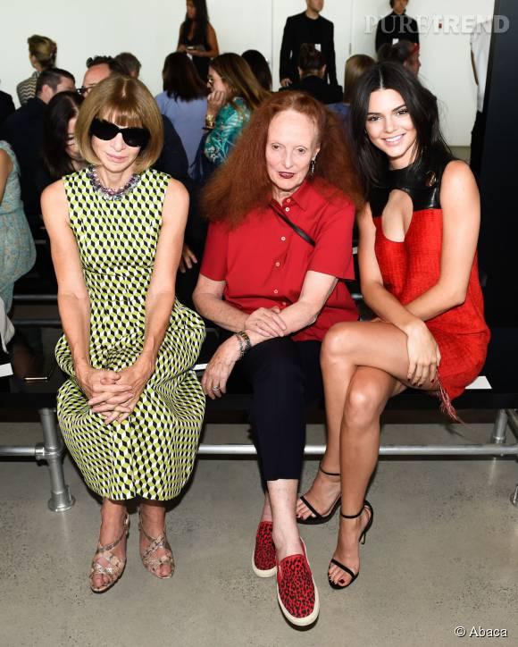Kendall Jenner en front row avec Anna Wintour et Grace Coddington.