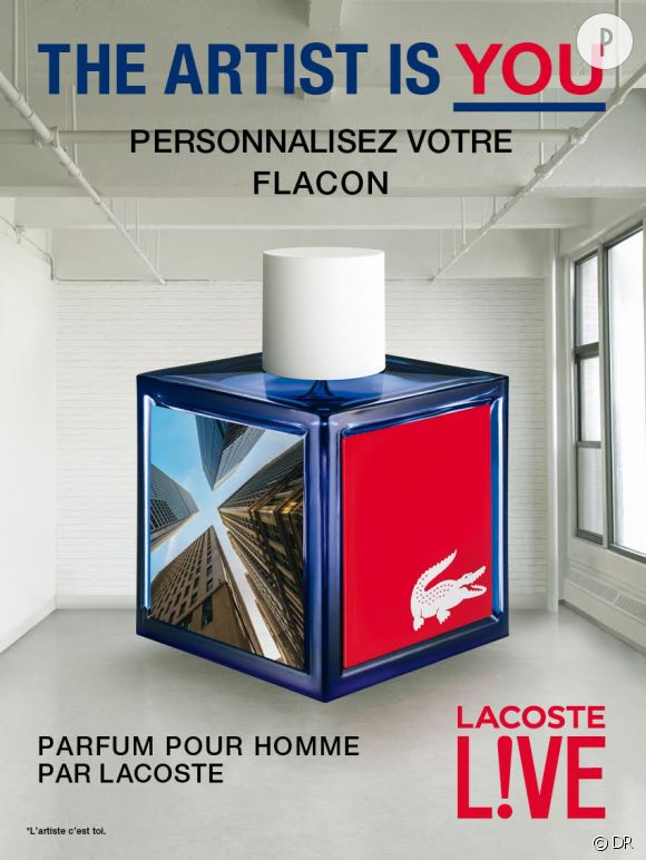 Un flacon de parfum customisé, c'est possible grâc à Lacoste. Souriez !