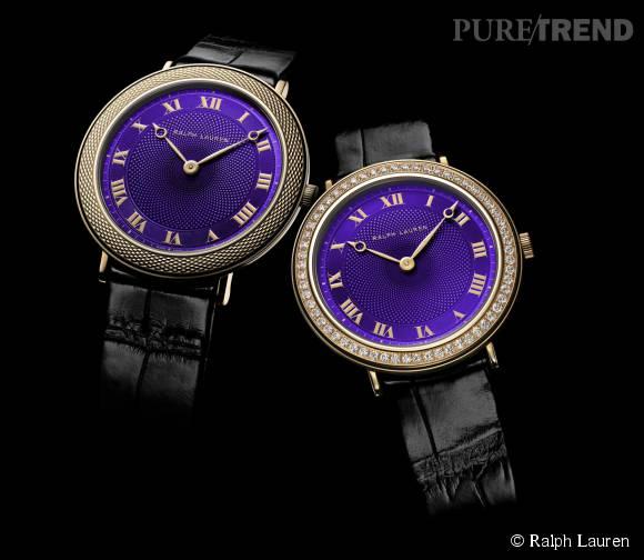 """Les nouvelles montres """"Slim Classique"""" de Ralph Lauren version violette."""