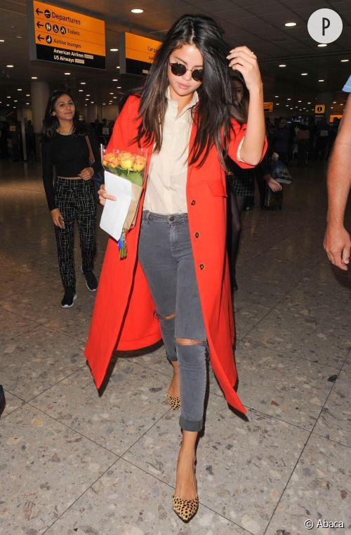 Selena Gomez à l'aéroport d'Heathrow à Londres le 20 septembre 2015.
