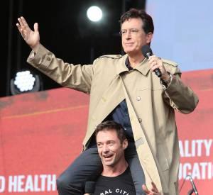 Global Citizen Festival : Hugh Jackman et le présentateur Stephen Colbert ont fait le show.