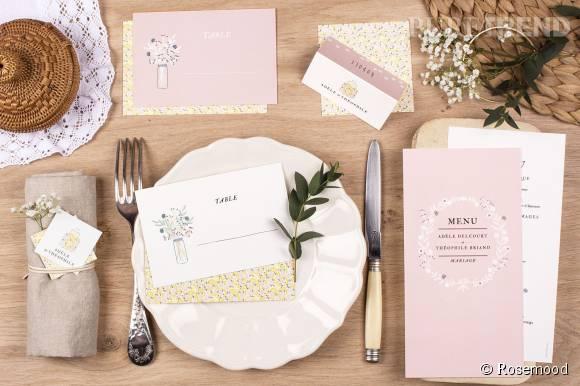 La papeterie de mariage Rosemood est personnalisable par les mariés.
