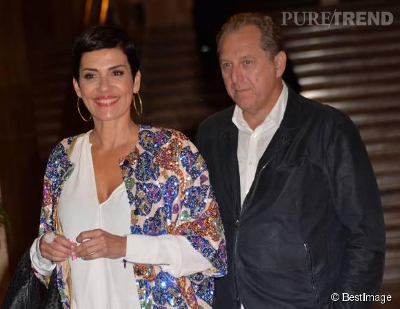 Cristina Cordula et son compagnon lors du lancement d'Octobre Rose, ce lundi 28 septembre 2015.