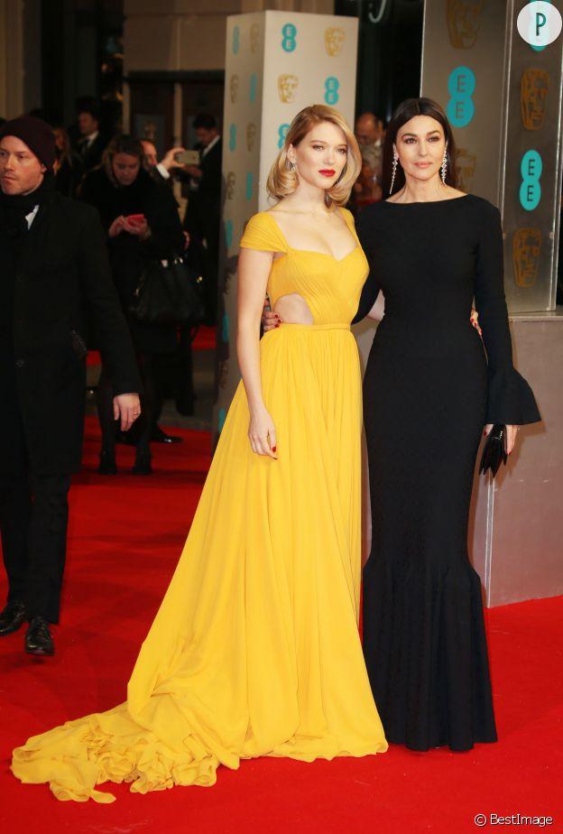"""Monica Bellucci, superbe James Bond girl aux côtés de Léa Seydoux pour la promotion de """"Spectre"""", en février 2015."""