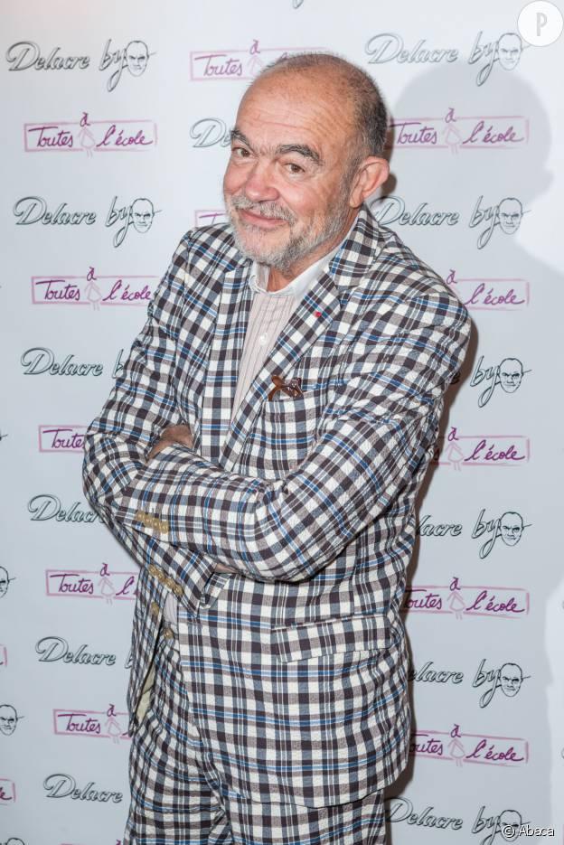 Christian Lacroix au du lancement des collections Delacre, habillée par Christian Lacroix, en septembre 2015.