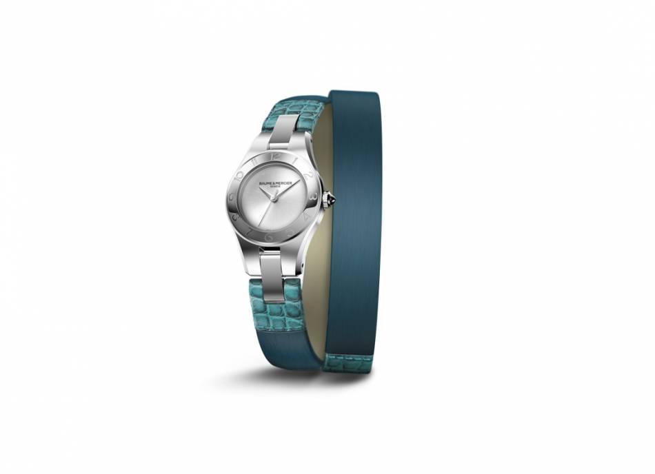 """Montre """"Linea"""" de Baume & Mercier, boîtier en acier de 27 mm, mouvement à quartz, bracelet interchangeable en cuir d'alligator et satin, édition limitée, prix sur demande."""