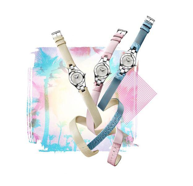 """Les bracelets interchangeables de la montre """"Linea"""" se parent de nouvelles couleurs."""