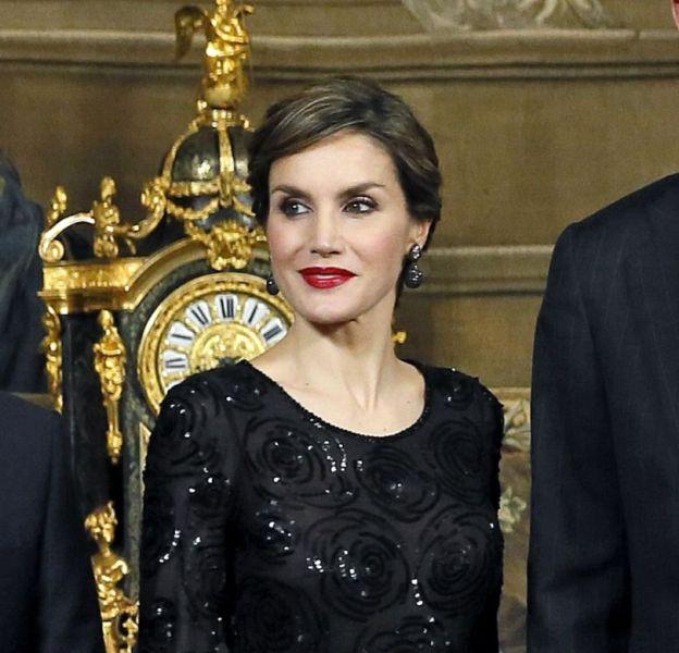 Letizia d'Espagne et son mari, avec le président portuguais, le 17 mars 2016 à Madrid.