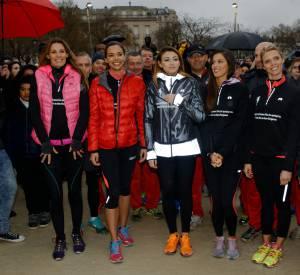 Les Miss au départ de la 30ème course du coeur le 30 mars 2016.