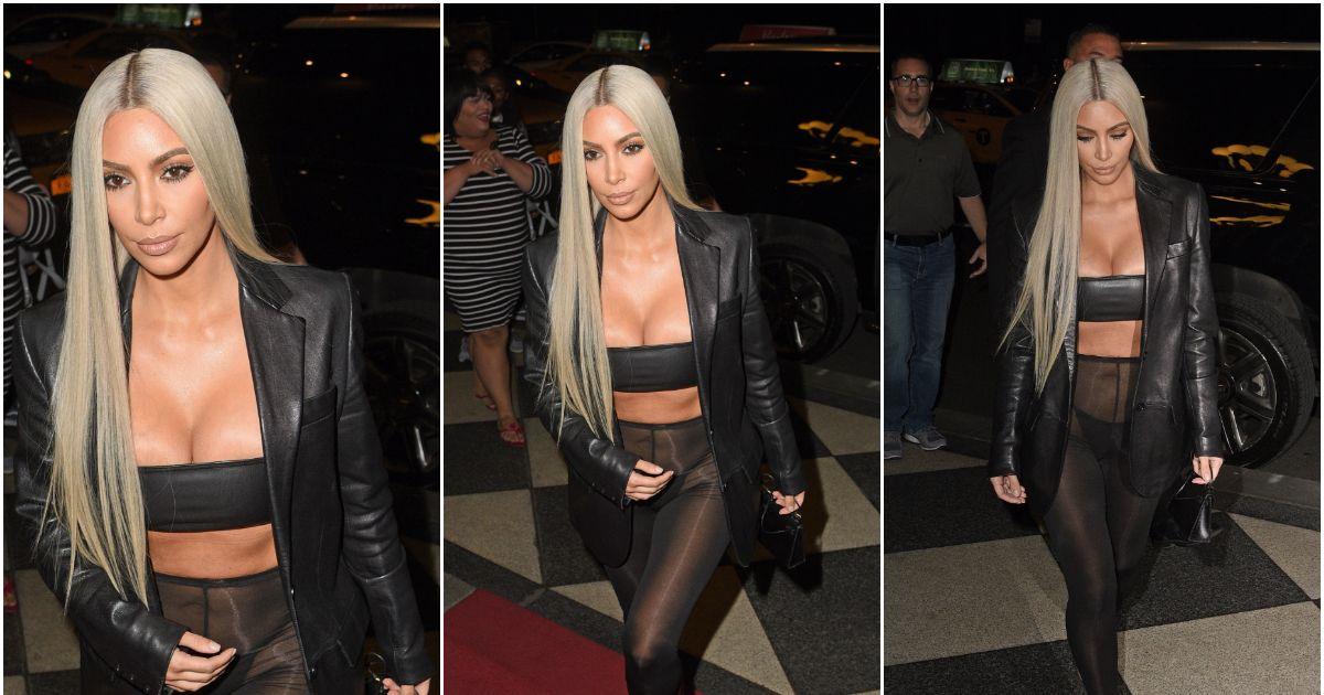 Kim Kardashian en culotte dans la rue un collant en guise de pantalon - Puretrend