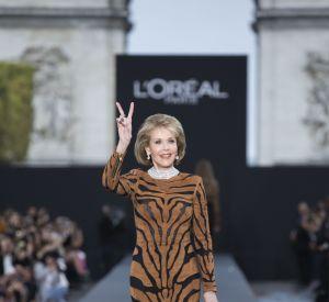 Jane Fonda lors du défilé L'Oréal Paris.