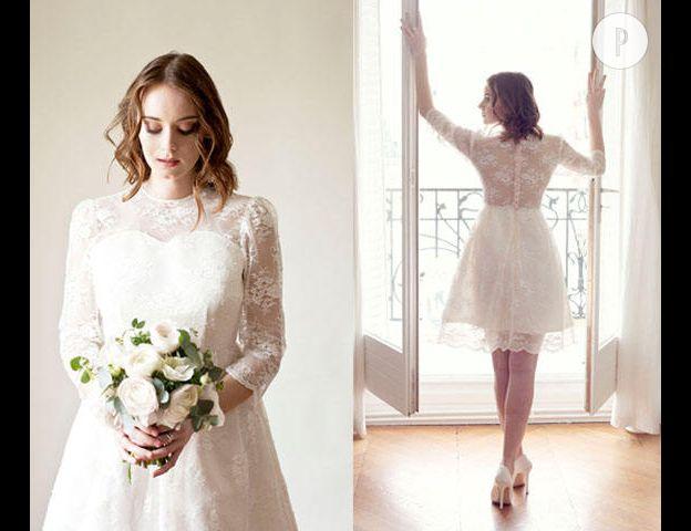 527d54e57c5 Et si pour changer on osait le court pour se marier   Cette robe devrait  convaincre les hésitantes. Manche longue et transparence en dentelle