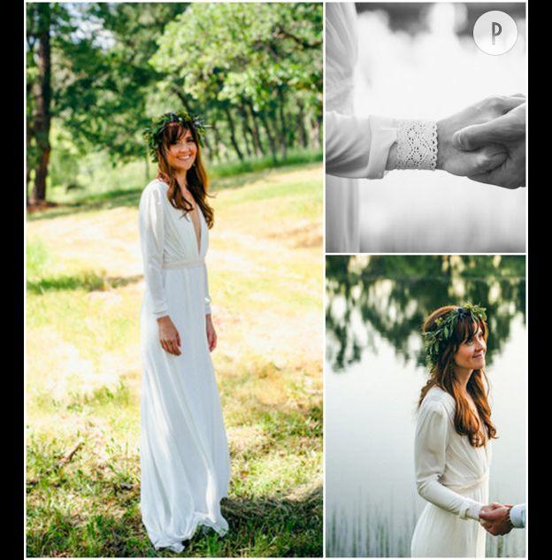 05d552e5acb Cette robe de mariée devrait plaire à celles qui rêvent d un modèle à la  fois simple et élégant. Parfait pour un mariage bohème.