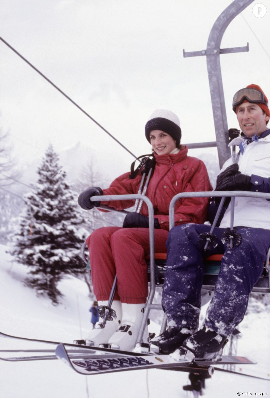 En 1984, Lady Diana et le prince Charles duo quelque peu crispé sur le télésiège.
