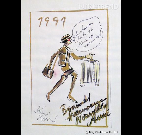 Dans le bureau d'Emmanuelle Marty : un croquis signé Karl Lagerfeld