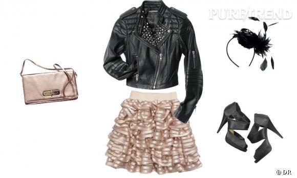 Perfecto, jupe à volants, sac, sandales à talons et serre-tête H&M.