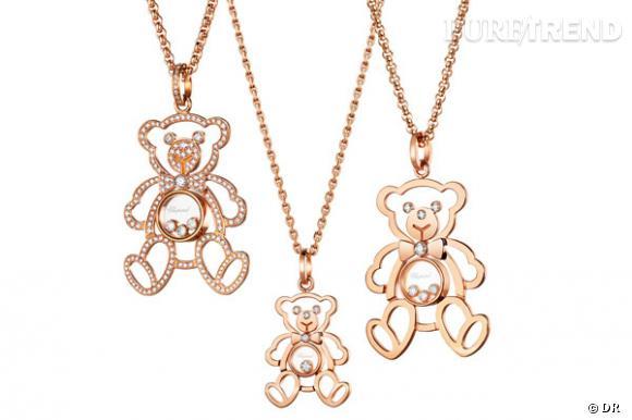 Pendentif Happy Diamonds Teddy de Chopard  Un nounours à garder autour du cou en or et diamants. Au choix : entièrement pavé ou non, petit ou grand, avec un ou trois diamants mobiles au centre.  Prix : sur demande