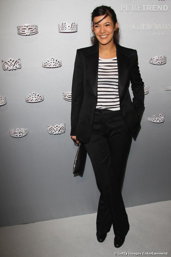 Mélanie Doutey lors de la soirée Chaumet à Paris, place Vendôme.