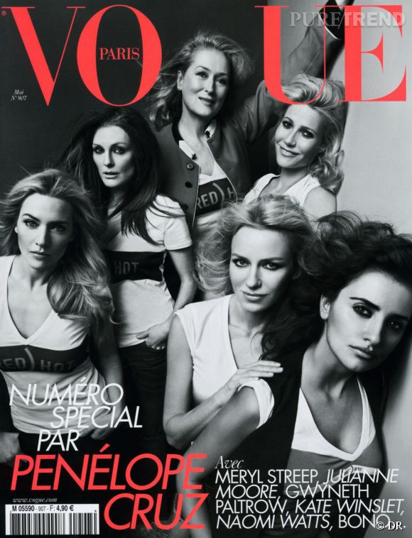 Le magazine à acheter de la semaine  Pour le numéro du mois de mai du Vogue Paris, c'est Penelope Cruz qui joue les rédactrices en chef. L'actrice a choisi de parler de ses copines célèbres, qui ont d'ailleurs posé pour l'une des trois différentes couvertures du magazine : Meryl Streep, Naomi Watts, Julianne Moore, Gwyneth Paltrow ou encore Kate Winslet. Bono et son engagement avec son label solidaire RED, mais aussi Pedro Almodovar, font partie des invités de prestige de ce numéro. Penelope affiche également ses préférences en matière de mode, cinéma ou encore gastronomie. Sortie en kiosques le 23 avril.