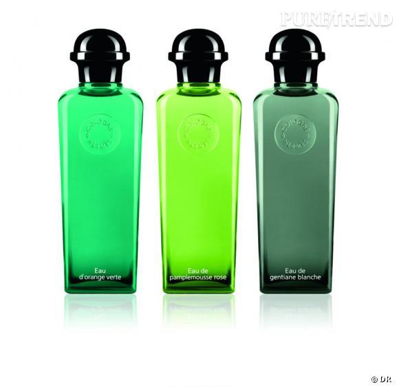 les eaux vertes trois nuances de vert illuminent les flacons des colognes d 39 herm s autour du. Black Bedroom Furniture Sets. Home Design Ideas