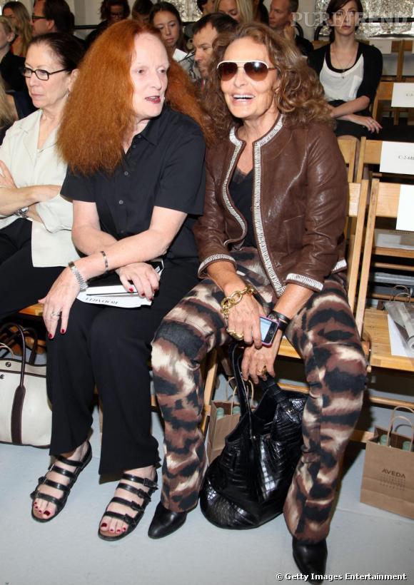 Grace Coddington et Diane Von Furstenberg au défilé Rodarte.