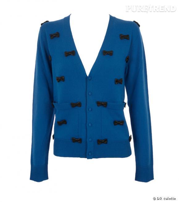 Gilet en laine brodé de noeuds en cuir Alexis Mabille, 520€ chez colette.fr.