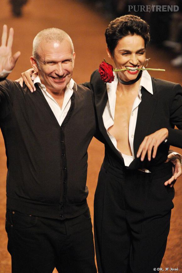 Jean-Paul Gaultier et Farida Khelfa au défilé Hermès printemps-été 2011.