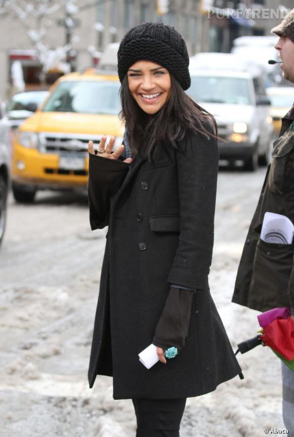 Jessica Szohr sur le tournage de Gossip Girl, à New-York.