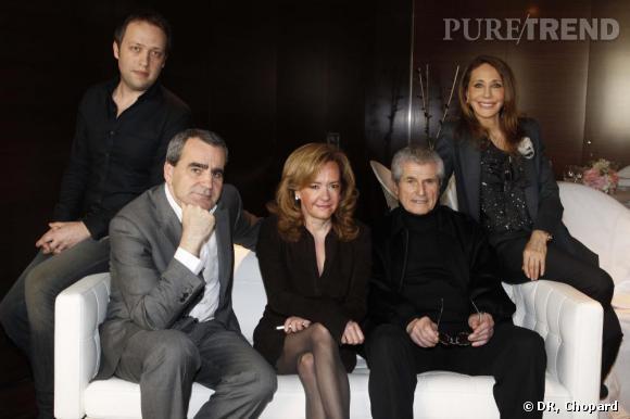 Jury du trophée Chopard, Mathieu Carratier, Takis Candilis, Caroline Gruosi-Scheufele, Claude Lelouch et Marisa Berenson.