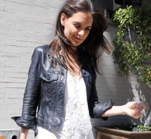 Katie Holmes, cuir et bohème... A shopper !