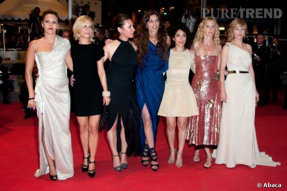 L'équipe féminine de Polisse au grand complet : Karole Rocher, Marina Foïs, Emmanuelle Bercot, Maïwenn, Naidra Ayadi, Sandrine Kiberlain et Karine Viard.