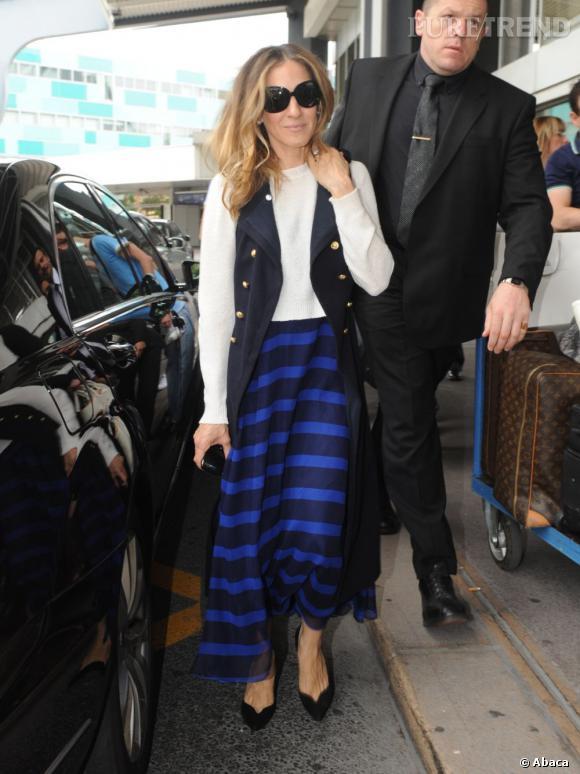 Sarah Jessica Parker à l'aéroport de Nice.